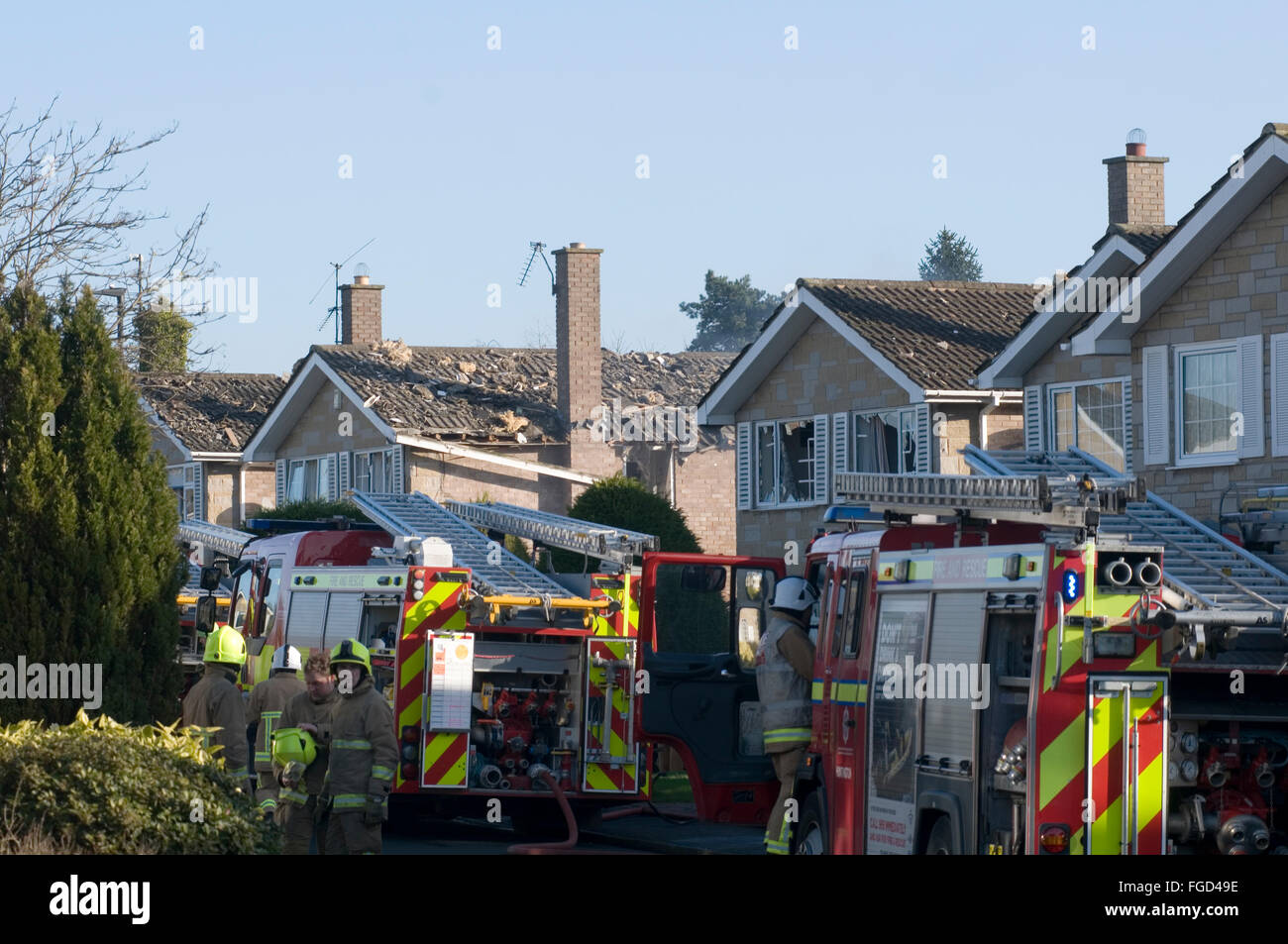 suspected gas leak explosion at a house in springwood road haxby near york heavy damage caused to neighbouring properties - Stock Image