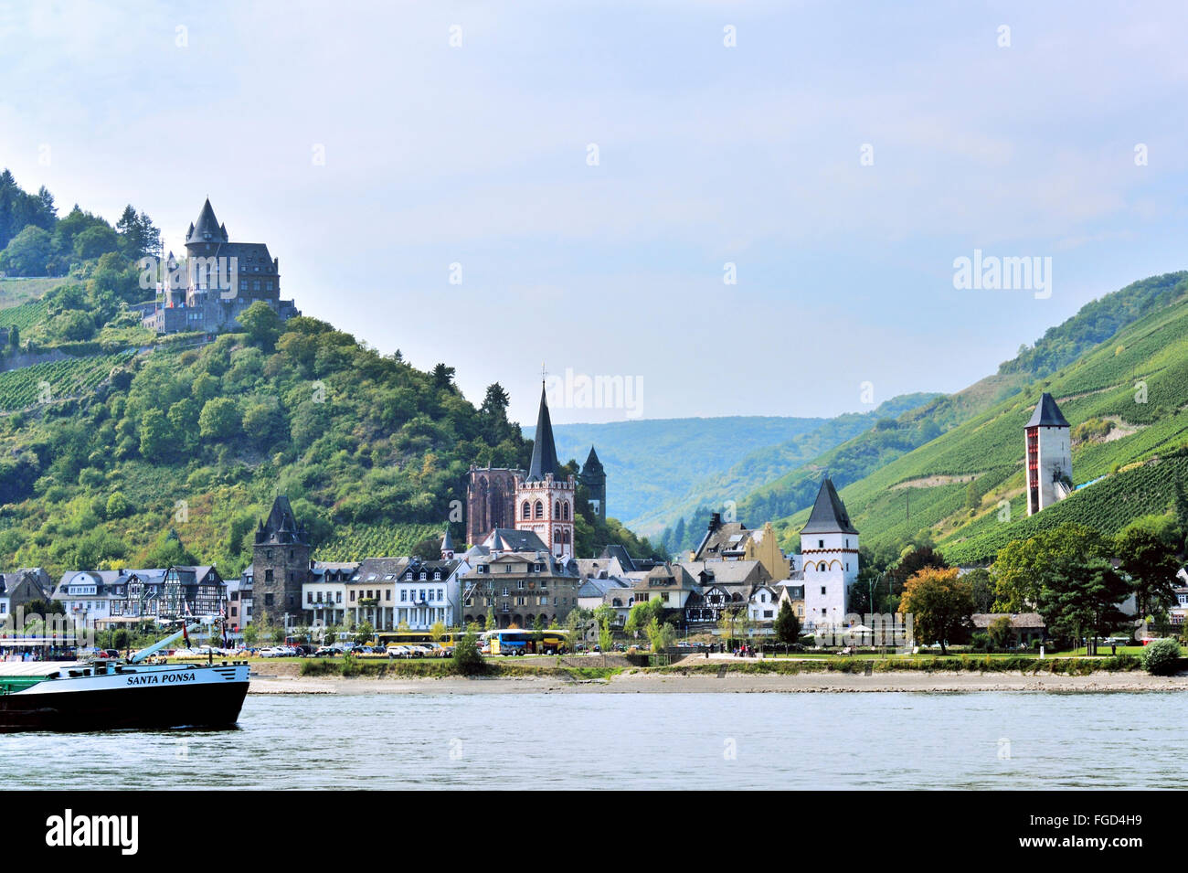 Town Bacharach in the Middle Rhine Valley and Stahleck Castle, Upper Middle Rhine Valley, Germany Stock Photo