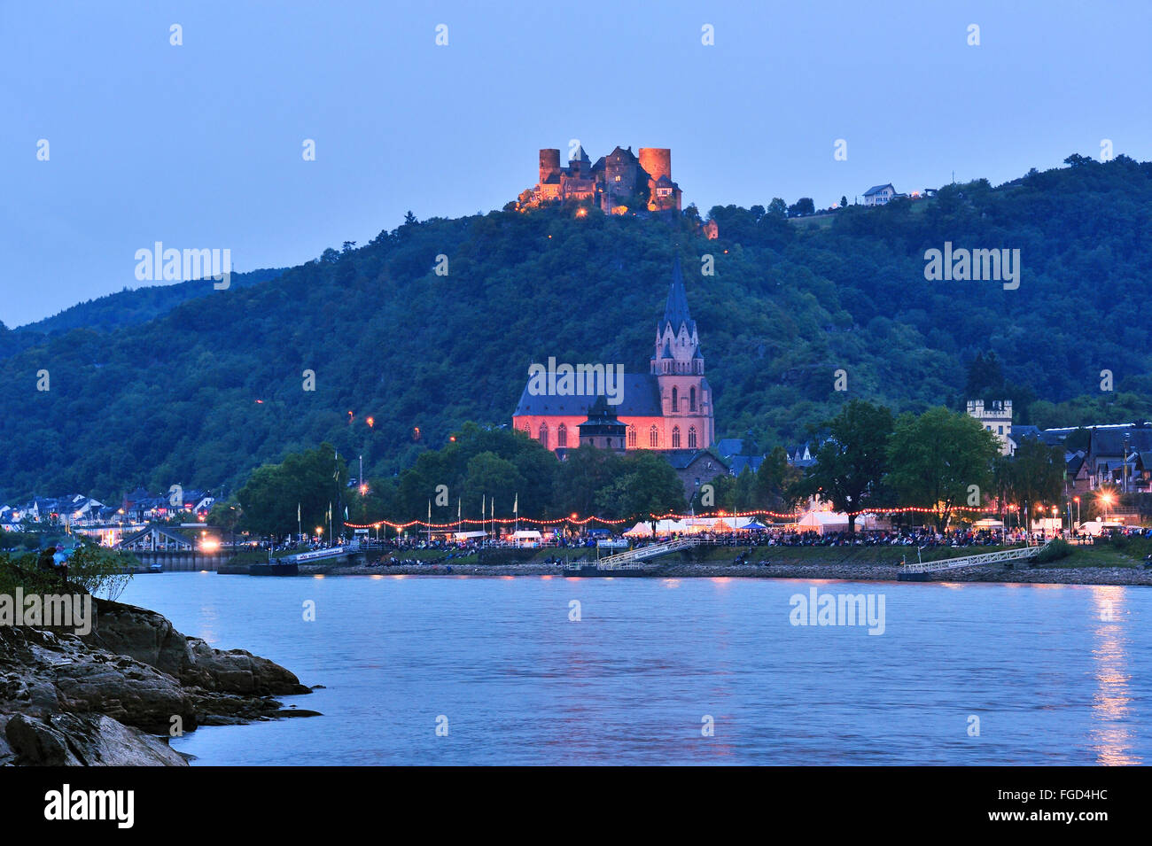 Illuminated town Oberwesel and Schönburg Castle at the festival of Rhein in Flammen, Upper Middle Rhine Valley, - Stock Image