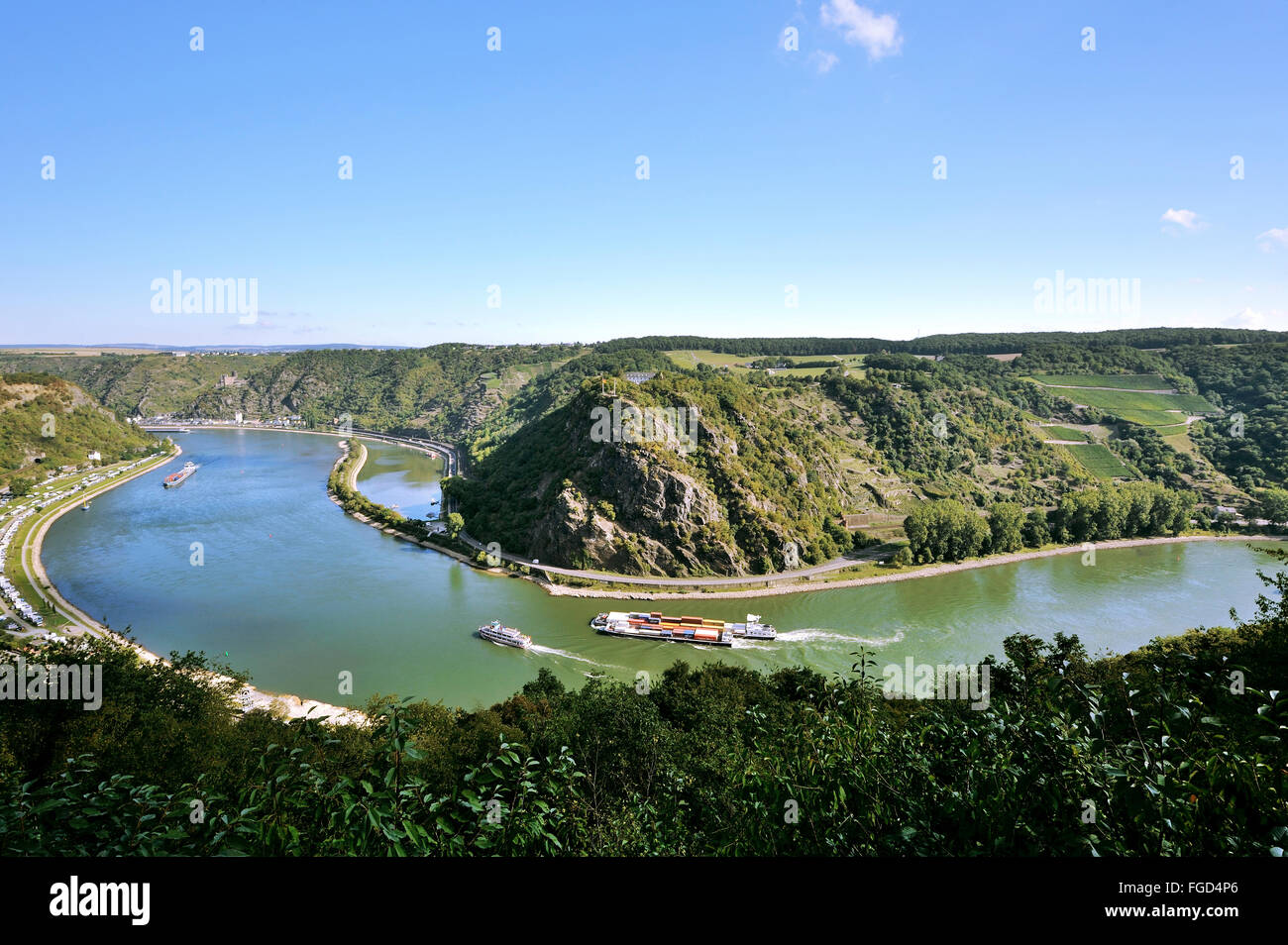The loop of the river Rhine around the rock of Lorelei, Lorelei view, Upper Middle Rhine Valley, Germany Stock Photo
