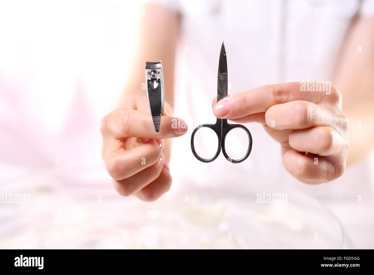 Manicure, nail clipping. Manicure tools. Clipper or scissors Stock ...