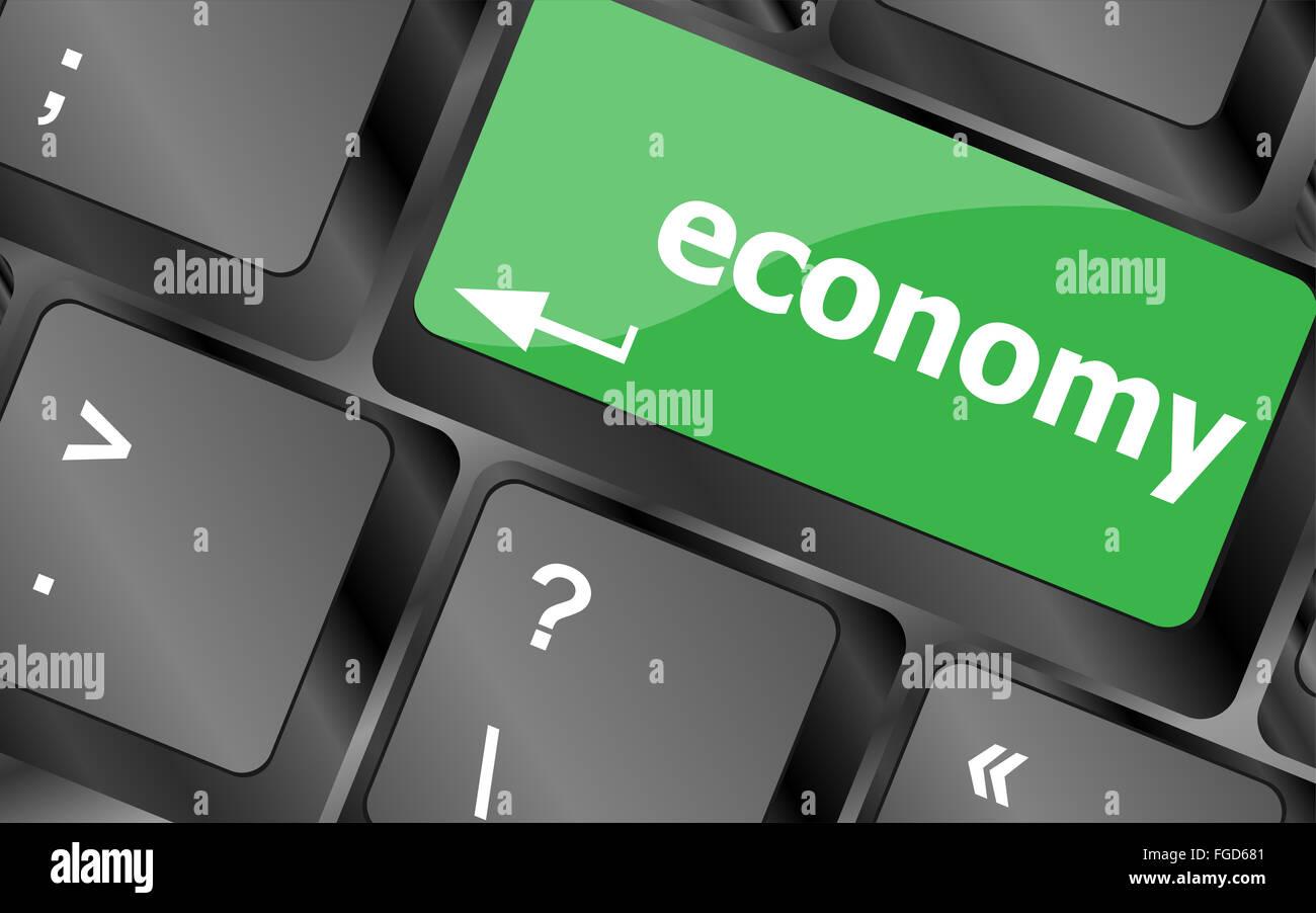 economy button on computer keyboard keys Stock Photo