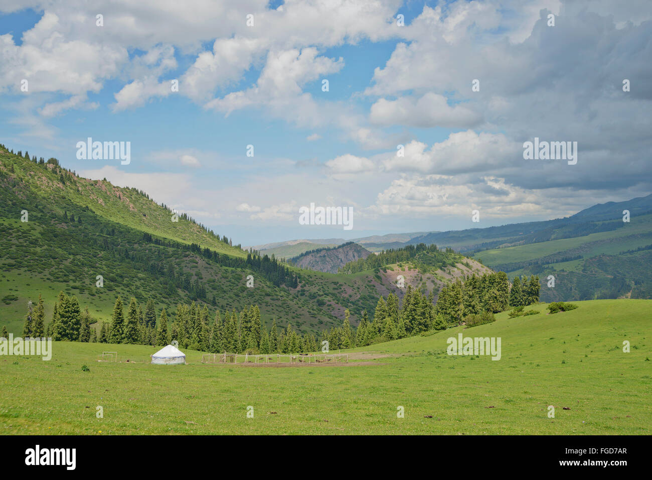 Yurt (a felted nomad tent) at summer pasture in Tian Shan mountain range, Kyrgyzstan. - Stock Image