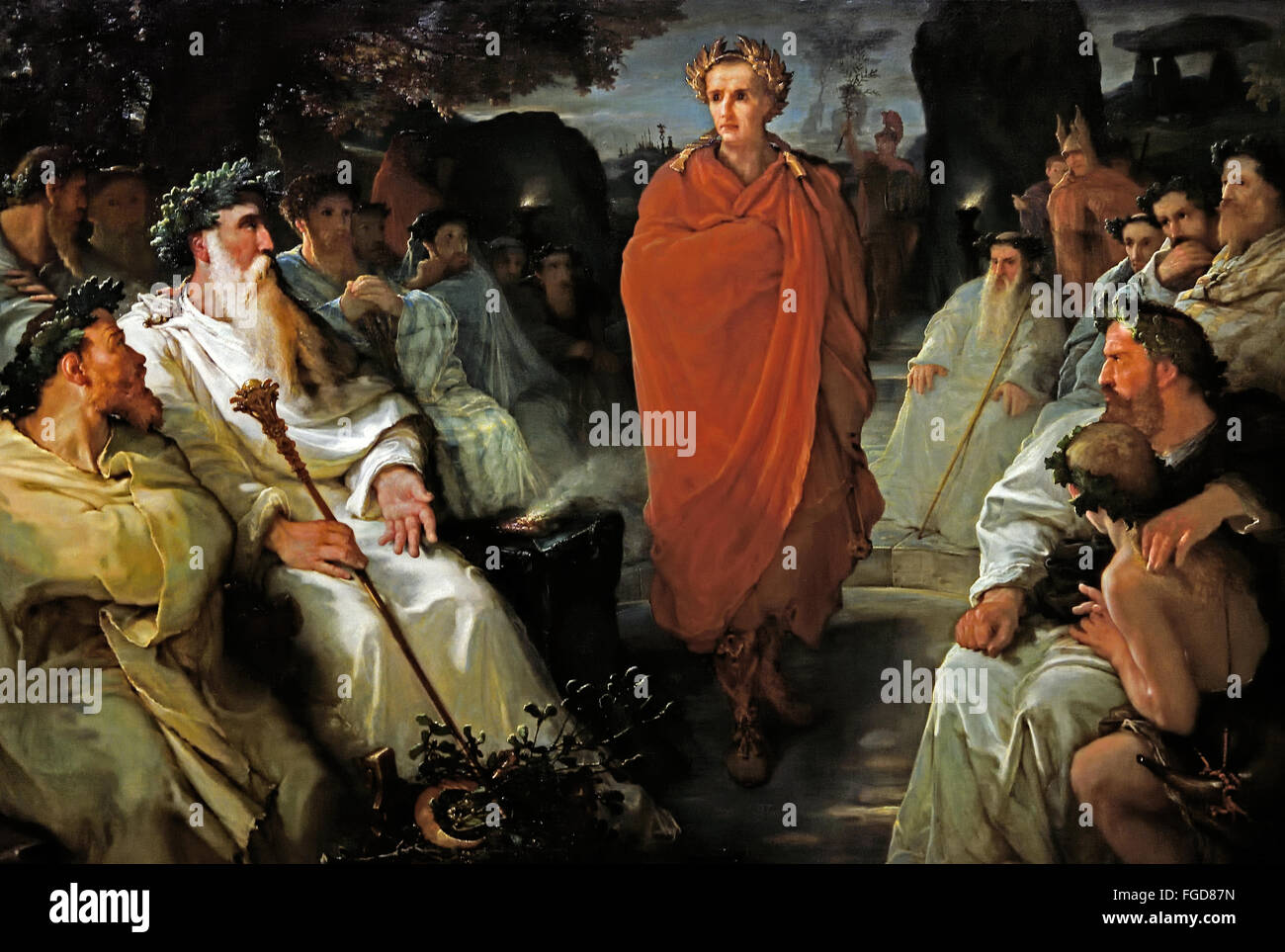 Caesar just deal with the Druids ( Campaigns Gallic ) 1867 Hippolyte Debon 1807-1872 France French ( Gaius Julius - Stock Image