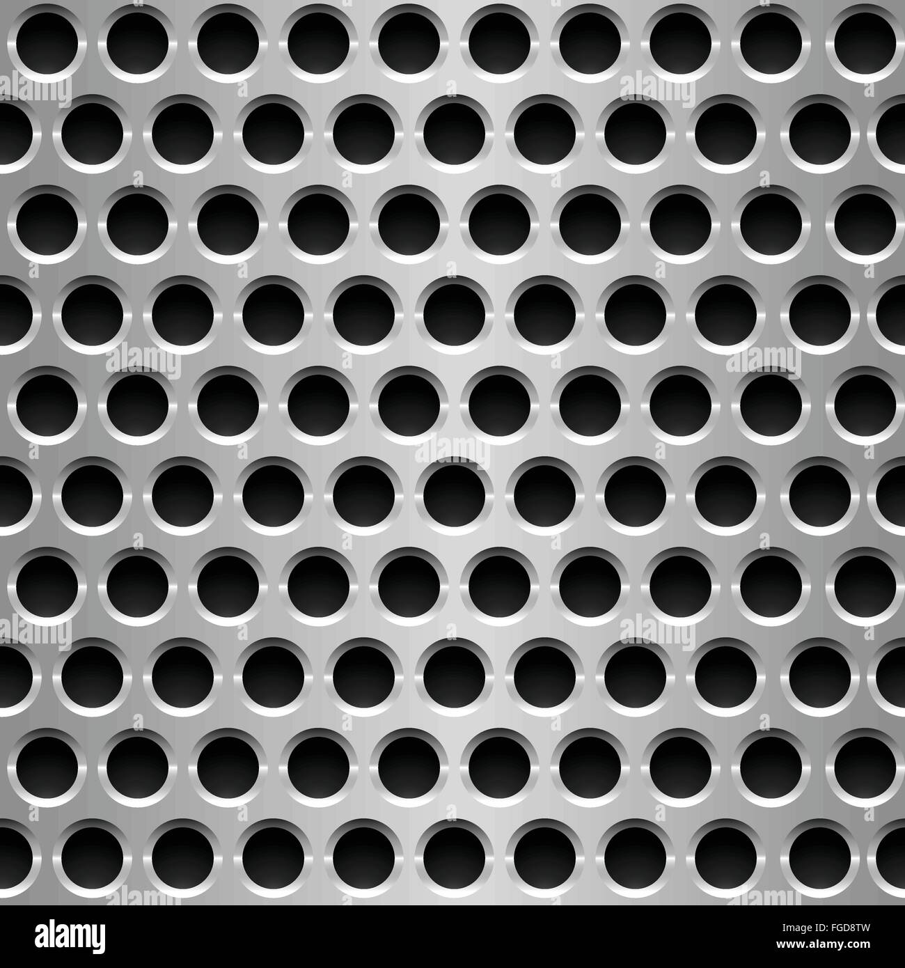 Seamless vector wallpaper of perforated metal plate. - Stock Vector