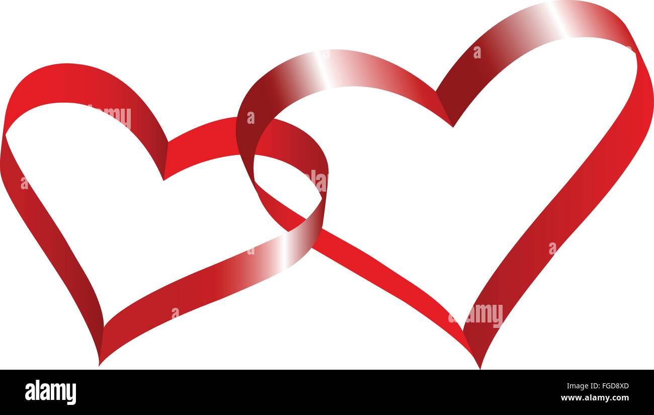Two linked hearts of red ribbon. - Stock Image