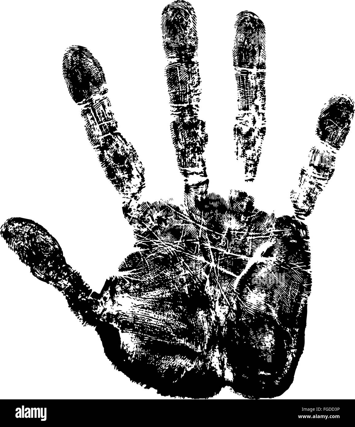 Vector image of hand print. - Stock Image
