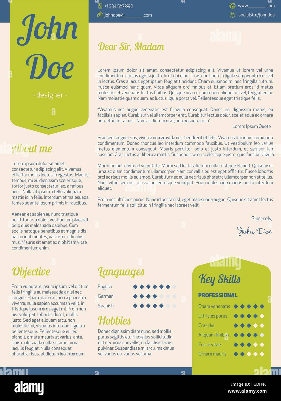 Modern Cover Letter Resume Cv Template With Green Ribbons