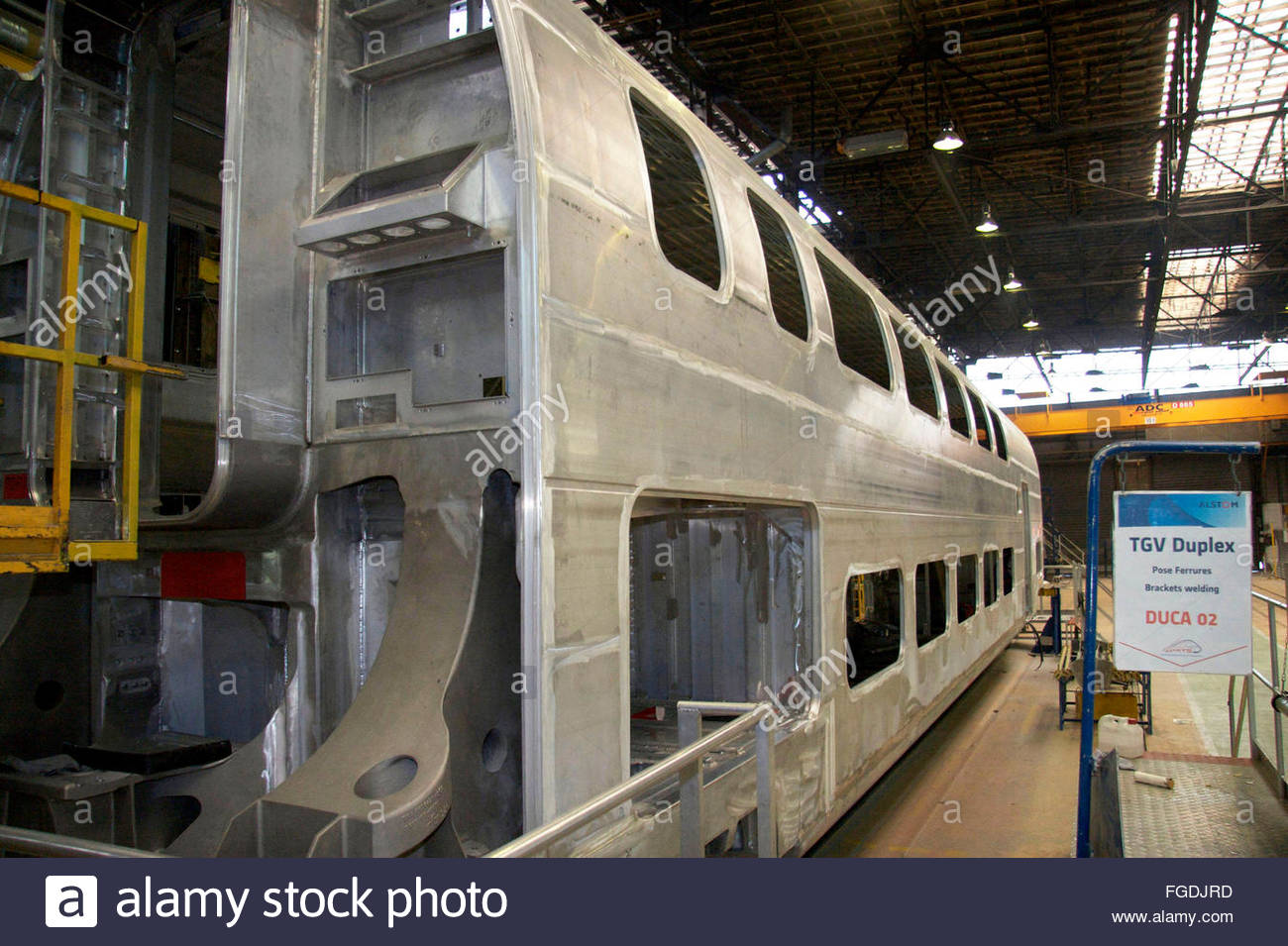 the carriage of a two floor tgv train alstom factory la rochelle stock photo 96186481 alamy. Black Bedroom Furniture Sets. Home Design Ideas