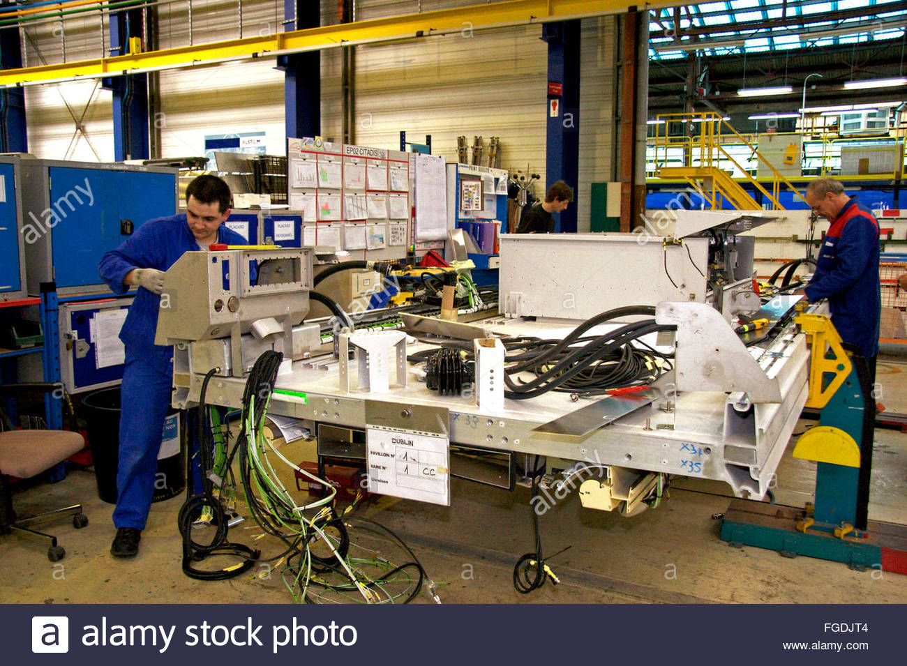Workers Assemble Electric Circuits For Trams Alstom Factory La Electriccircuits Rochelle Charente Maritime France