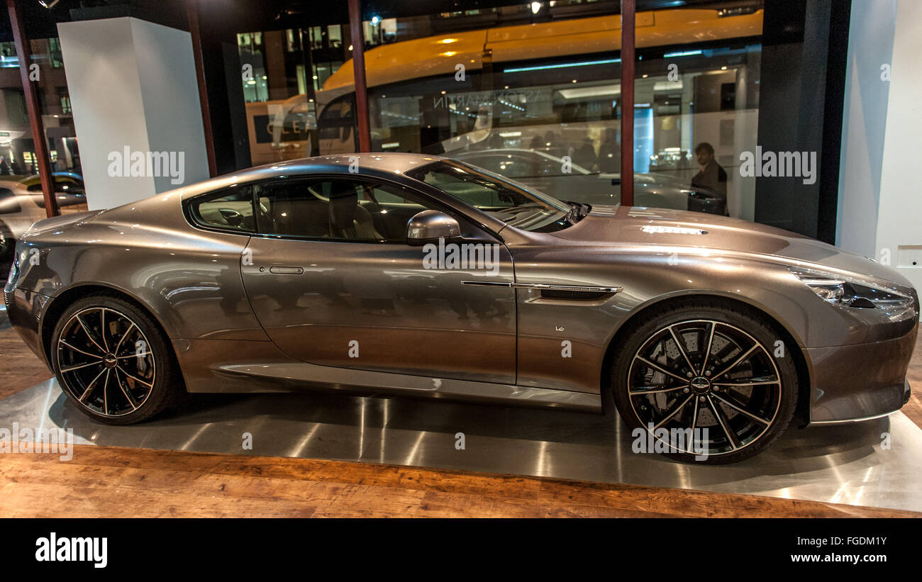 Three Aston Martin Sports Cars Including The DB5 From Goldfinger And The  DB10 From Spectre On Display In Harrods. Featuring: Aston Martin DB9 GT  Where: ...