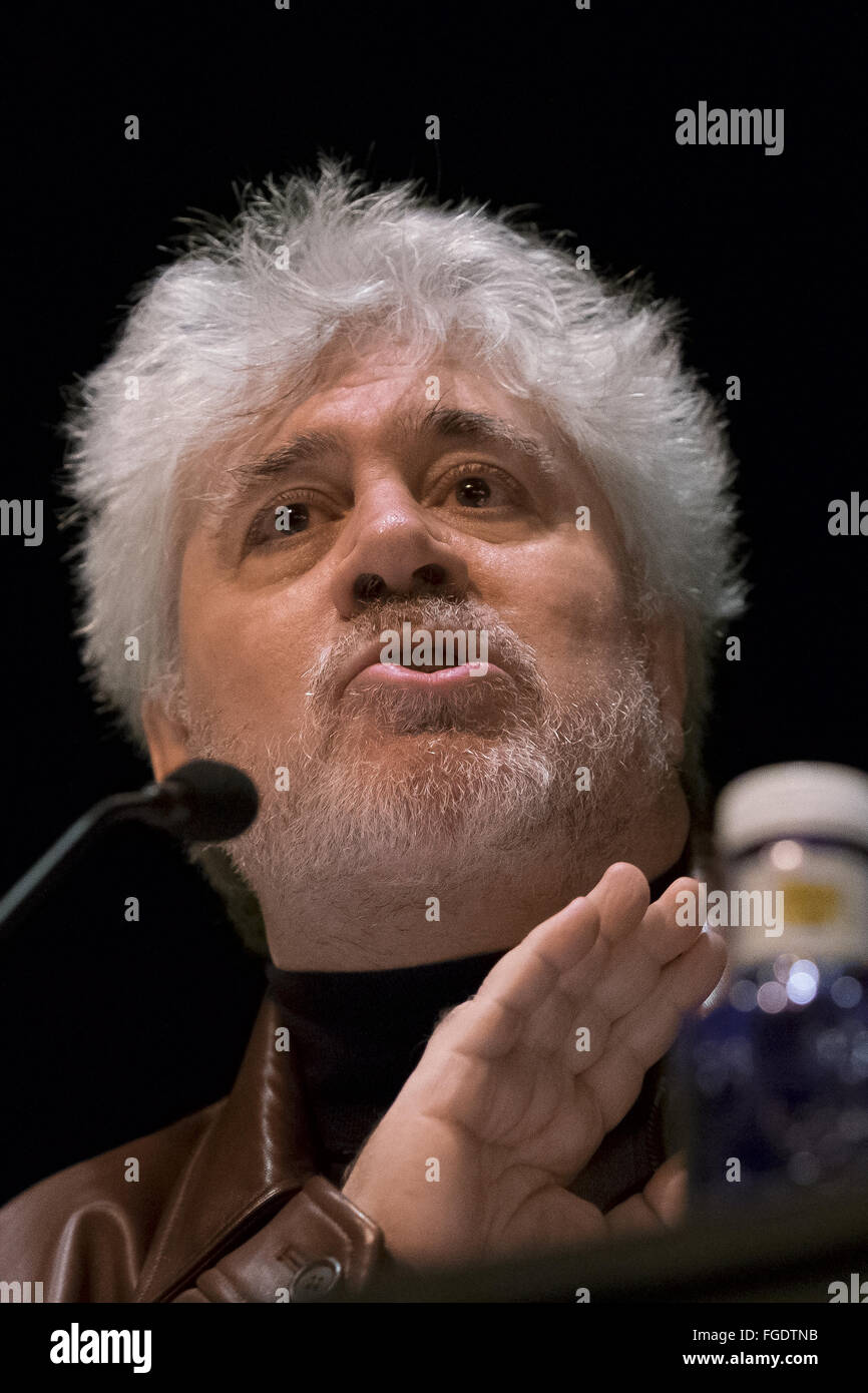 Spanish film maker Pedro Almodovar gives a master class during the Profesional Artistic School held at Fine Arts - Stock Image