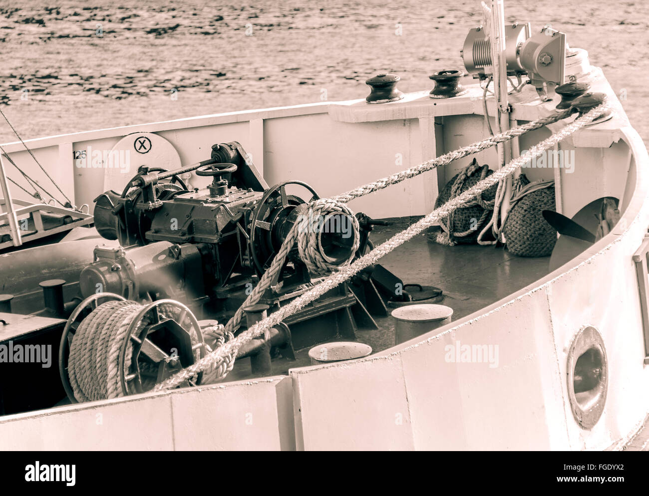 Styling photo about equipment on bow of ship - Stock Image