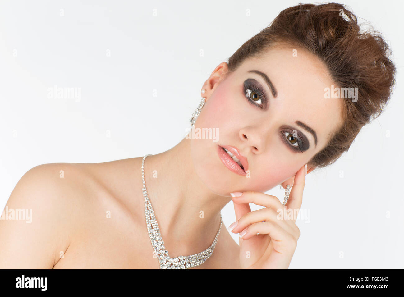 Young woman with jewelry, Portrait - Stock Image