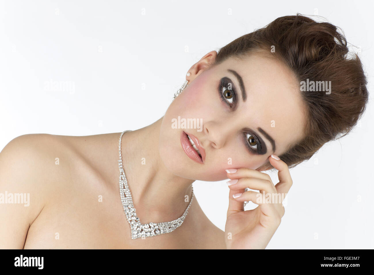 Young woman with jewelry, Portrait Stock Photo