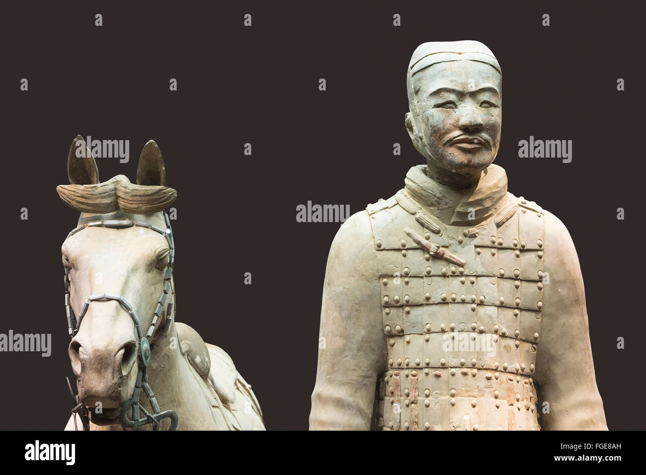 Museum the Terracotta Warriors Cavalryman with his Saddled War-Horse Mausoleum the first Qin Emperor Xian Shaanxi - Stock Image