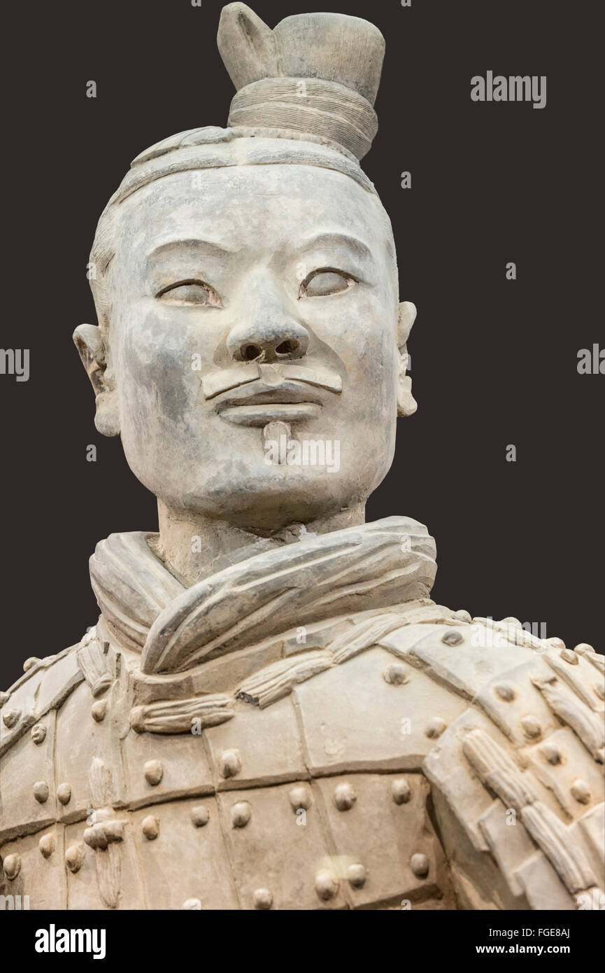 Museum of the Terracotta Warriors, Bust of a Kneeling Archer, Mausoleum of the first Qin Emperor, Xian, Shaanxi - Stock Image
