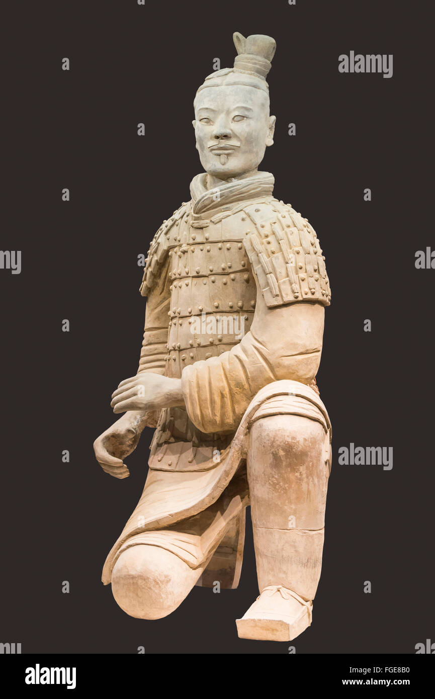 Museum of the Terracotta Warriors, Kneeling Archer, Mausoleum of the first Qin Emperor, Xian, Shaanxi Province, - Stock Image