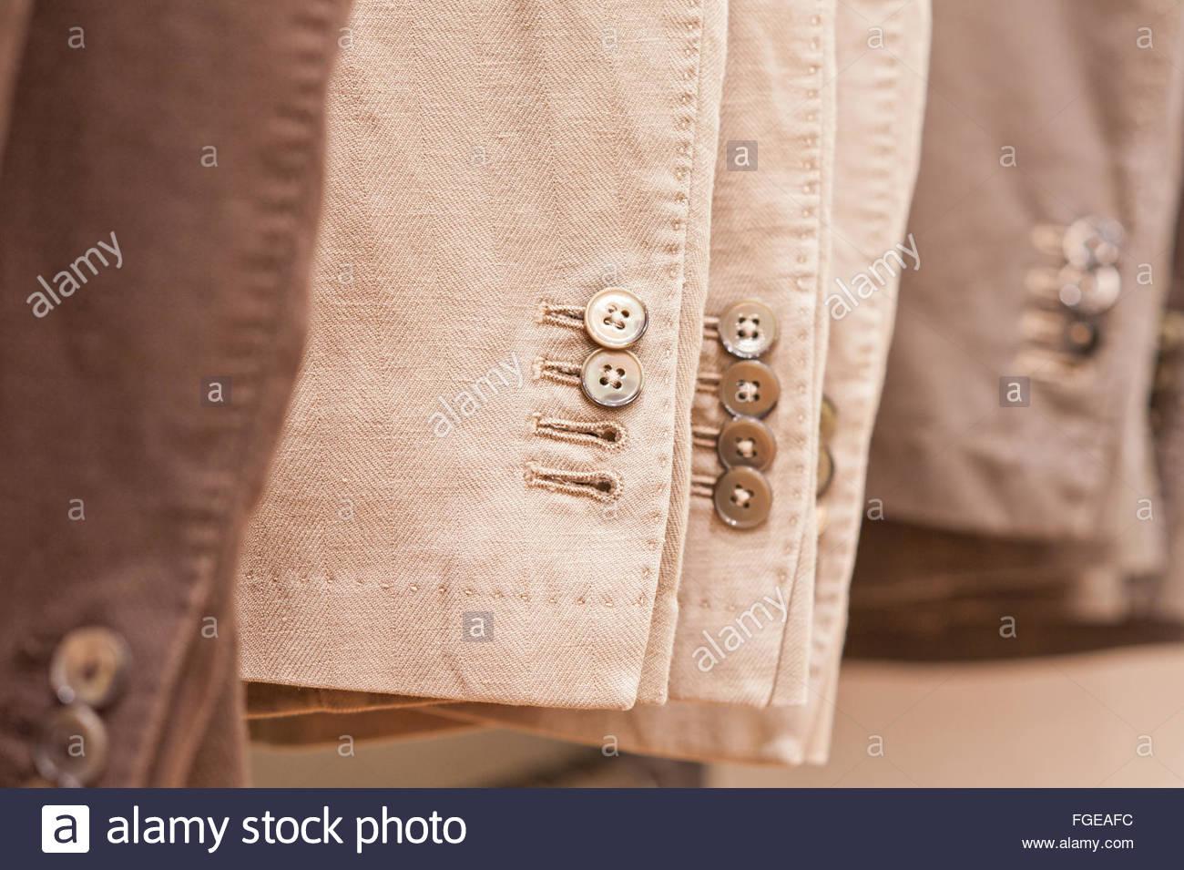 men's jackets,detail - Stock Image