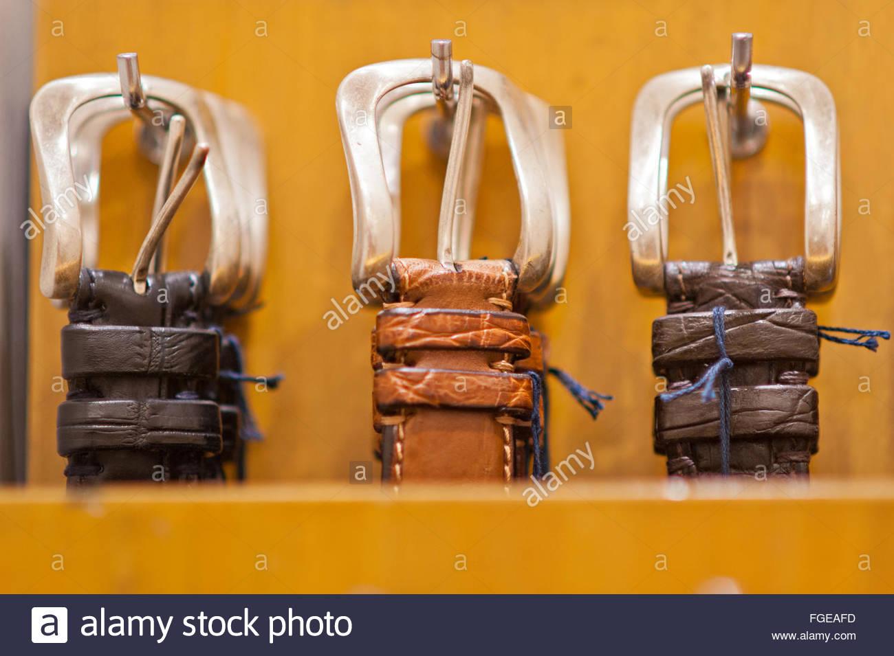 men's belts - Stock Image