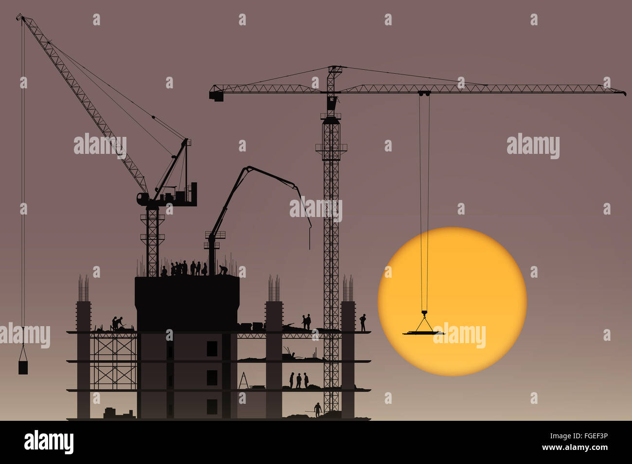 A Construction Site with Tower Cranes and Sunset, Sunrise - Stock Image