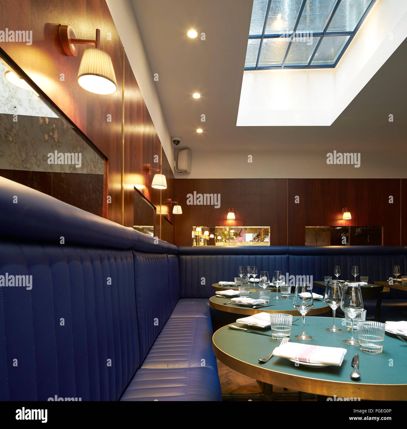 Dining Room With Skylight And Upholstered Bench Seating The Palomar Restaurant London United Kingdom Architect Gundry Duc