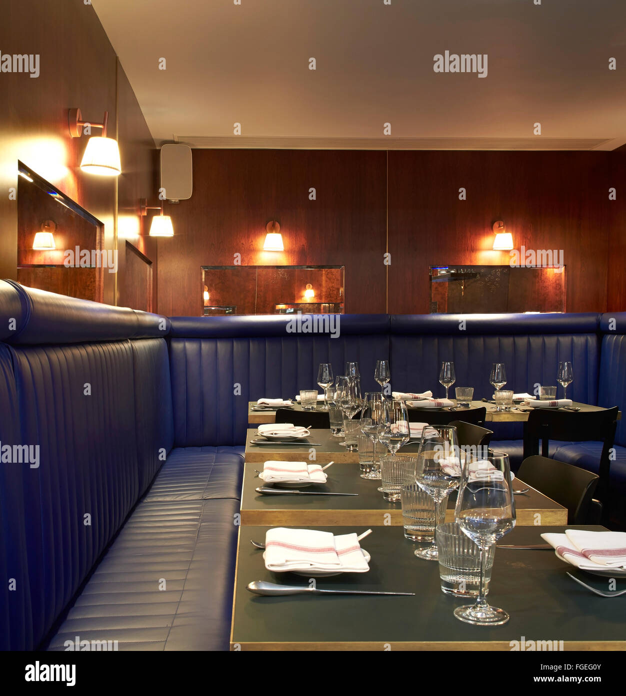 Dining Room With Upholstered Bench Seating The Palomar Restaurant London United Kingdom Architect Gundry Ducker 2014