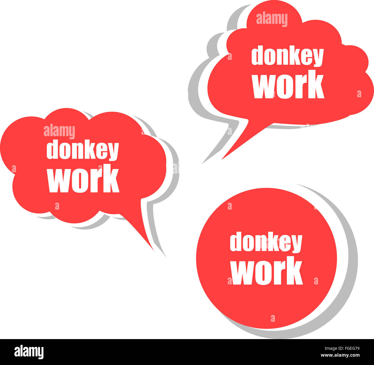 donkey work. Set of stickers, labels, tags. Template for ...