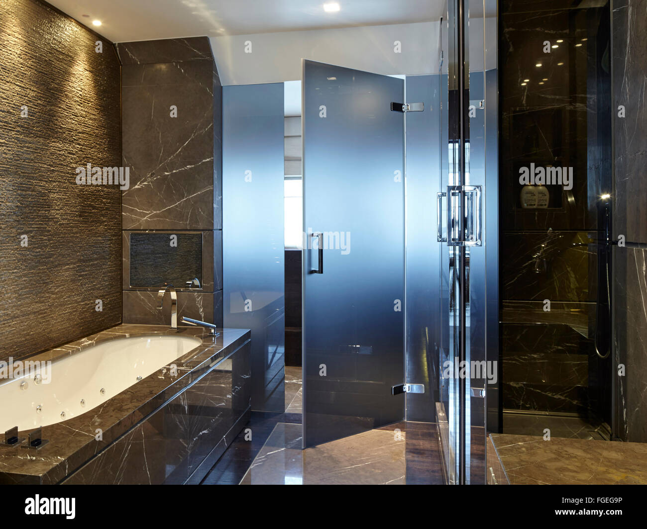 Interior dark marble bathroom with bath and glass door. Tudor Hall ...