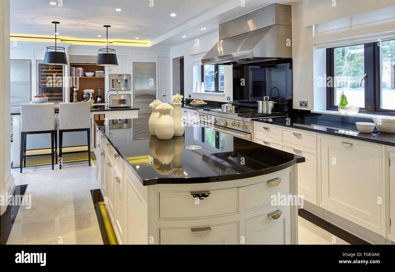 Smallbone Kitchen Interior With Island In Black White Gloss Finish