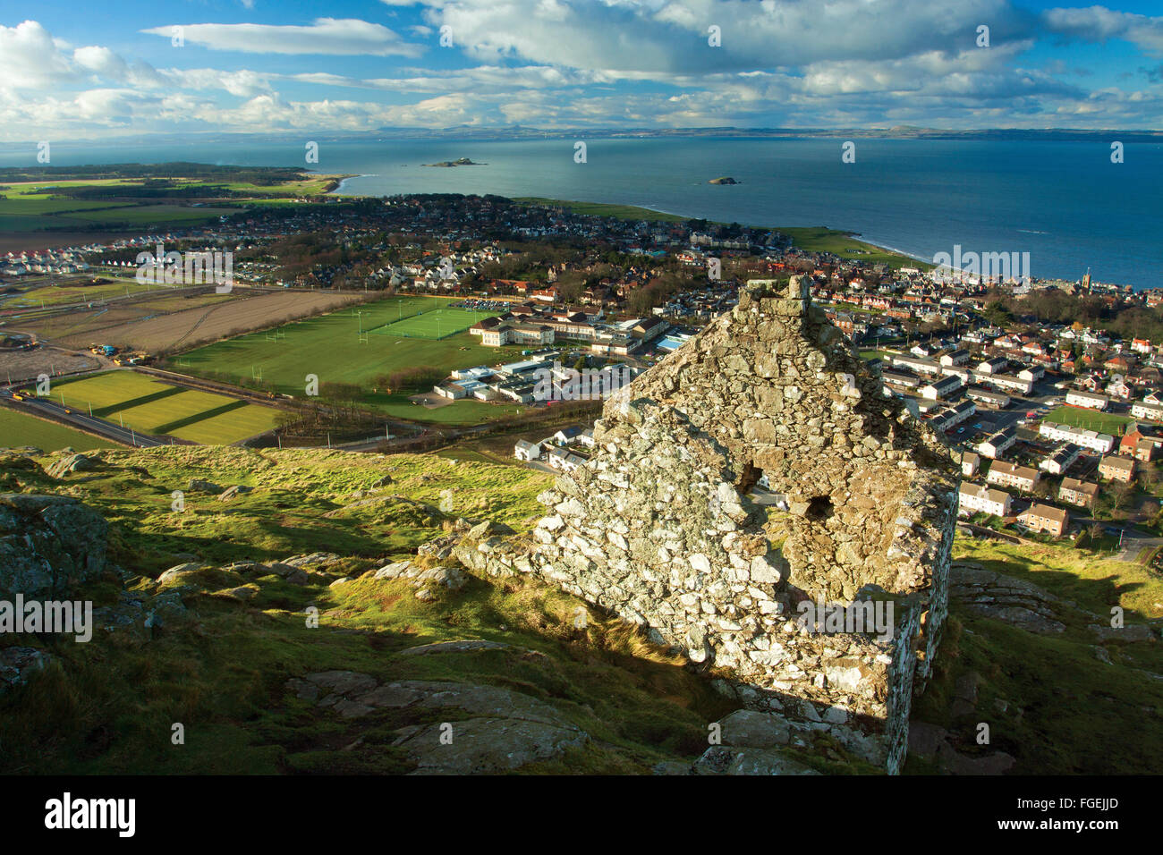 North Berwick, World War II Watch Tower and Fife from North Berwick Law, East Lothian Coastline - Stock Image