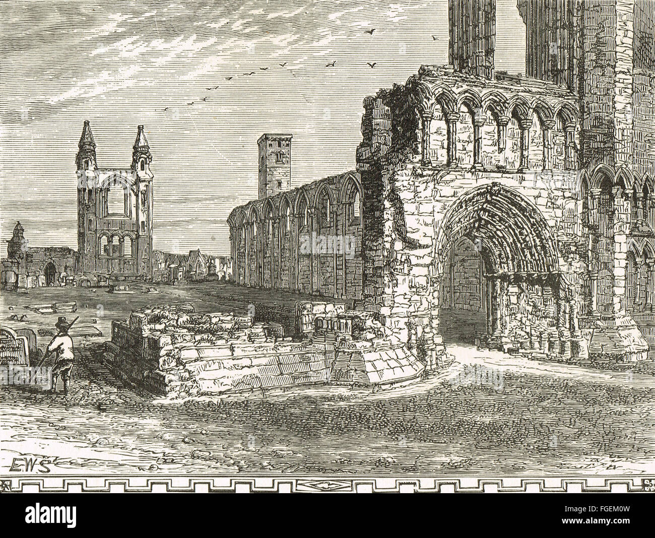 19th century engraving St Andrews Cathedral, Fife, Scotland - Stock Image