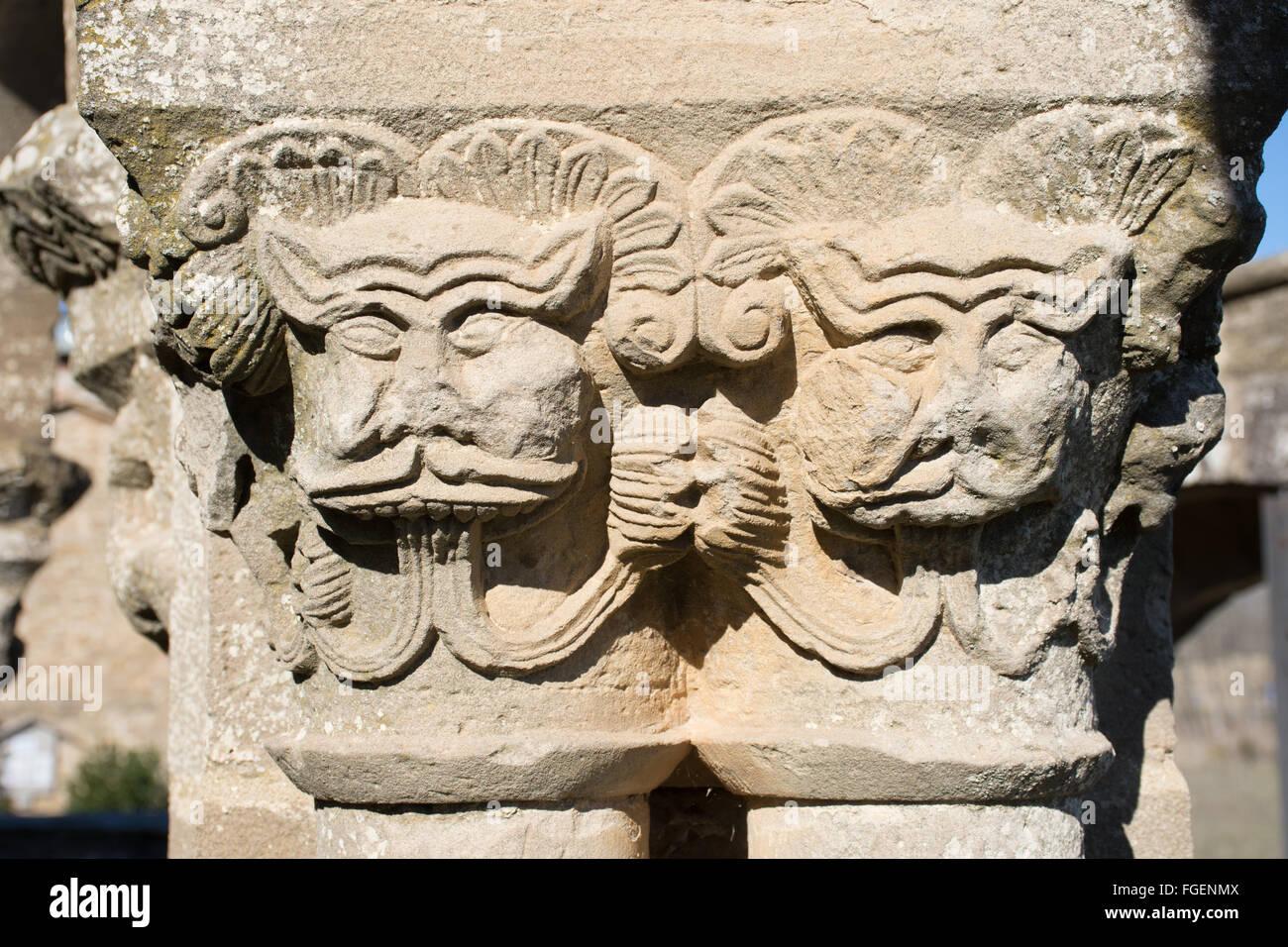 Capitals mythcal beasts Eunate Navarra Spain - Stock Image