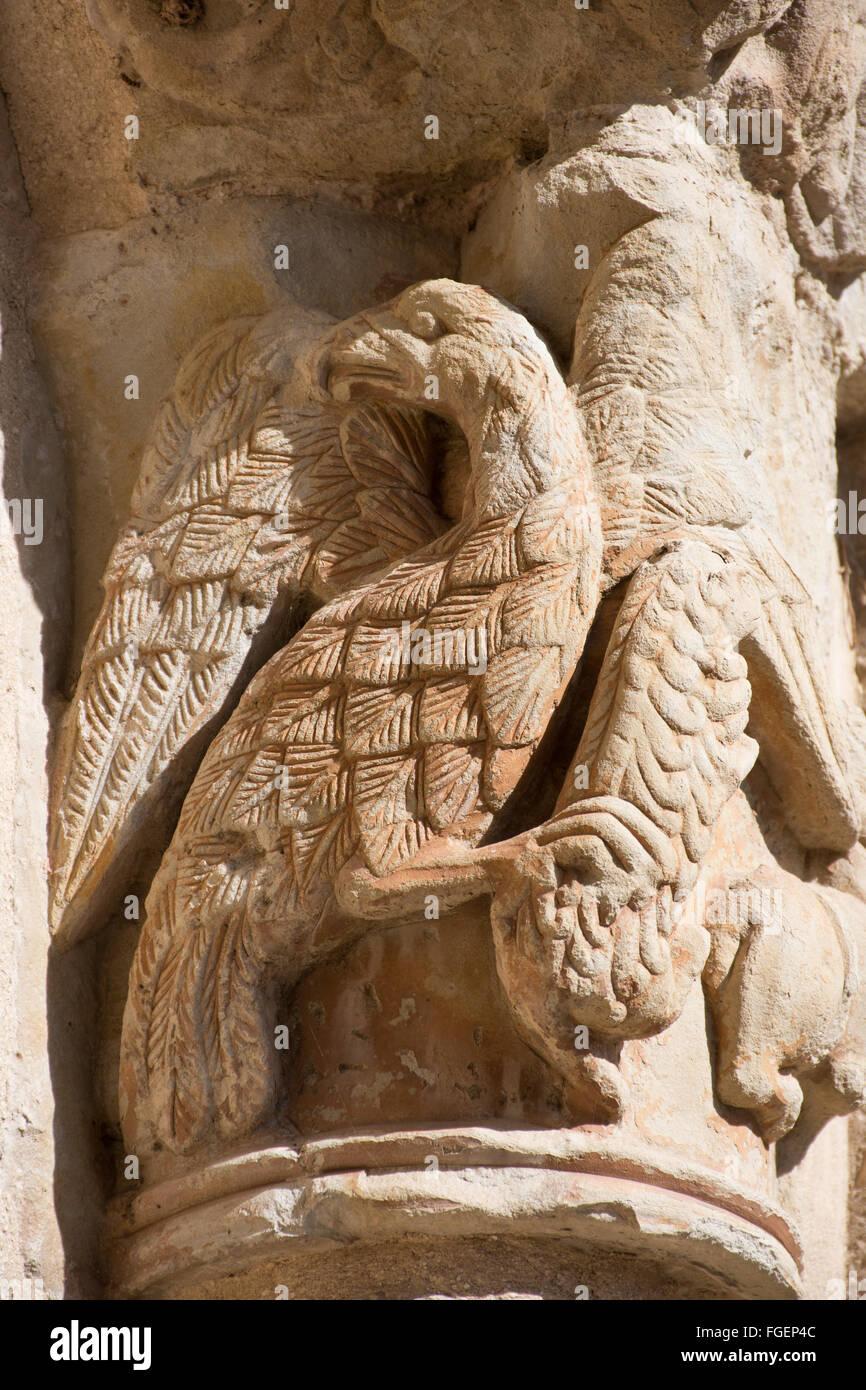 carved bird cemetery Navarrete La Rioja Spain - Stock Image