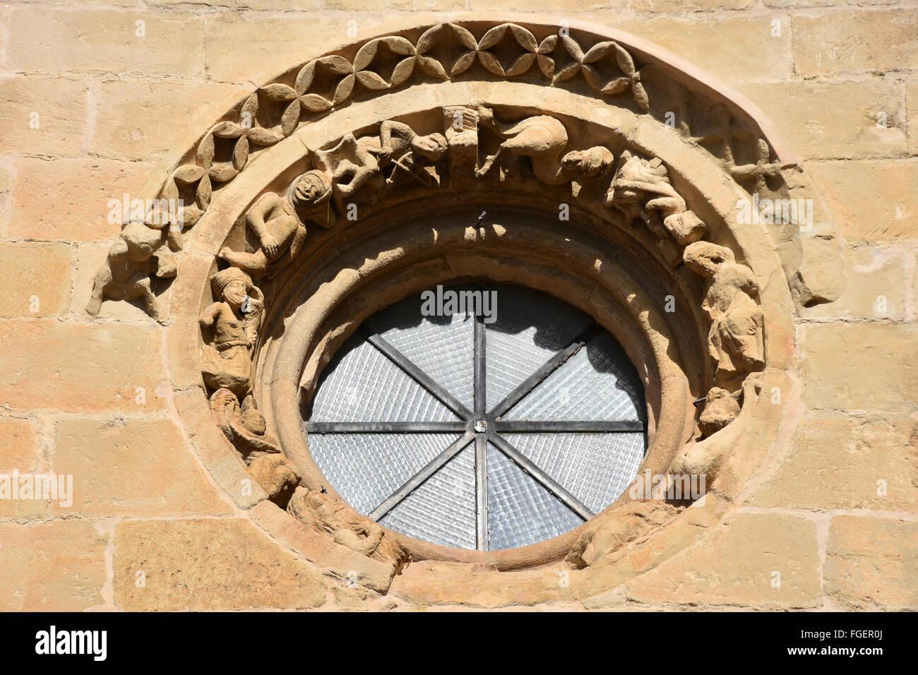 Oculus round window church Laguardia Basque Country Spain - Stock Image