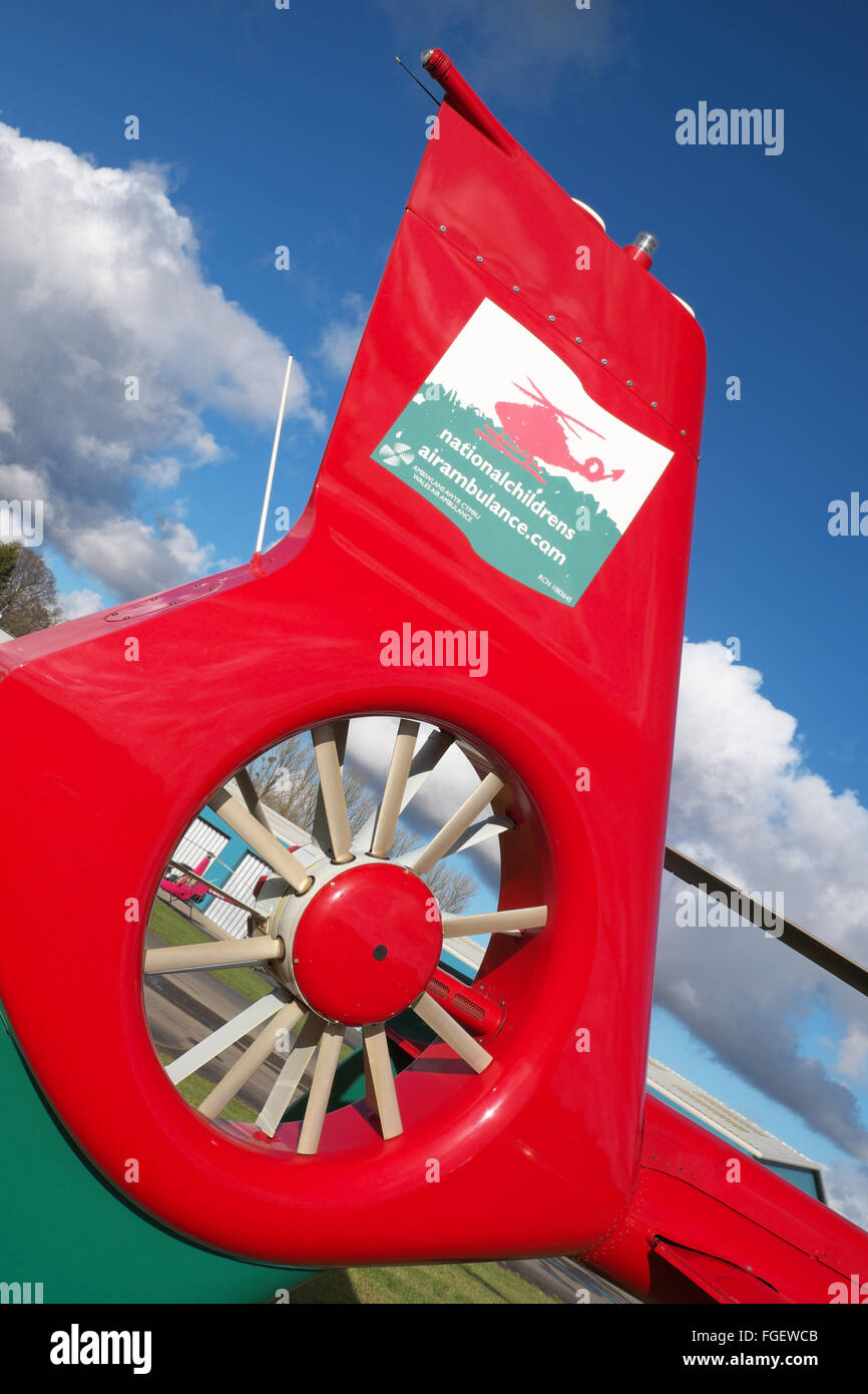 Wales Air Ambulance EC 135 helicopter tail rotor and logo - Stock Image