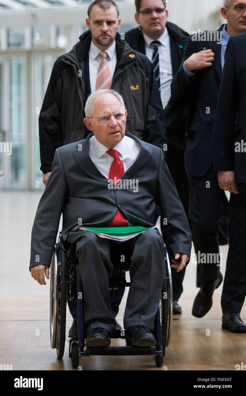 German Finance Minister Wolfgang Schaeuble (CDU)  arrives to testify as a witness in front of the enquire commission - Stock Image