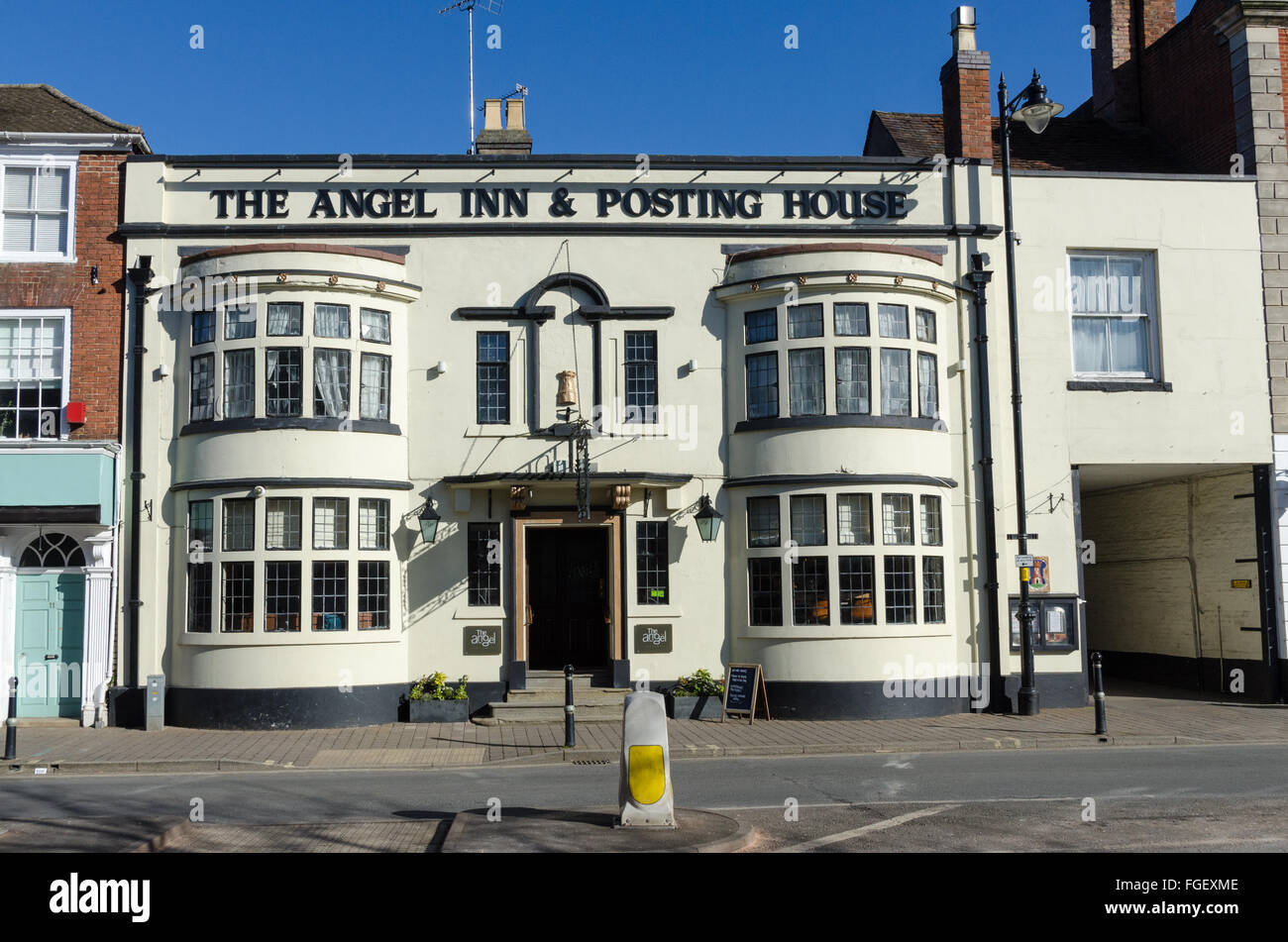 The Angel Inn and Posting House in Pershore, Worcestershire - Stock Image