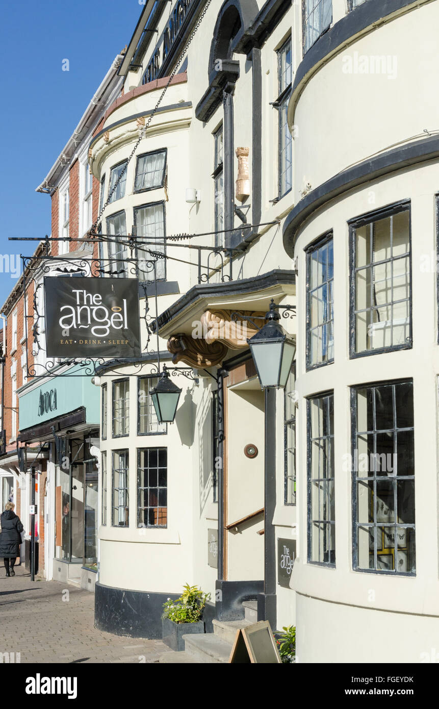 The Angel Hotel and Restaurant in Pershore, Worcestershire - Stock Image