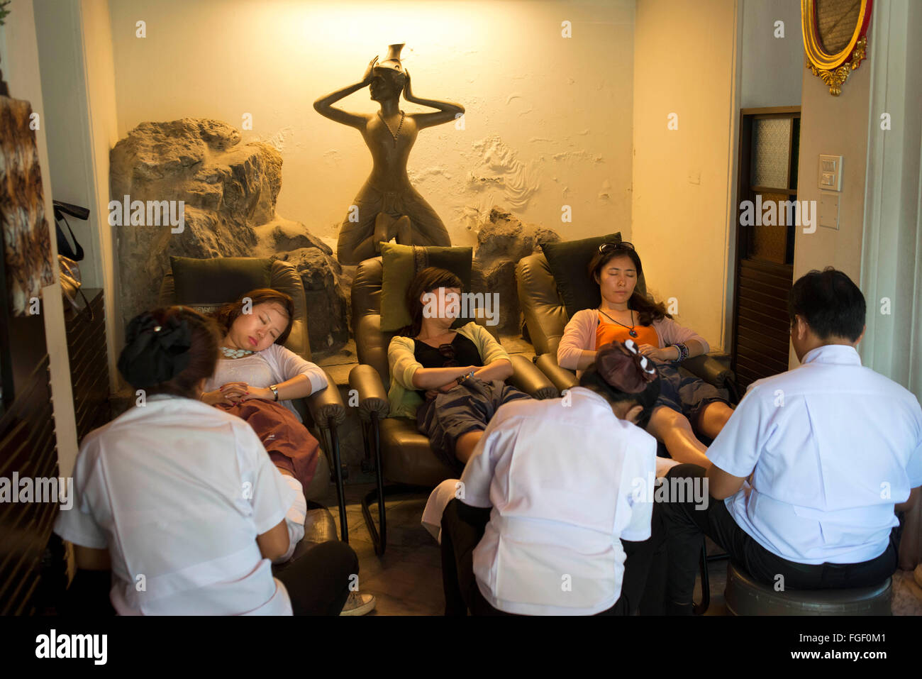 Wat Pho foot thai massage. WatPo Thai Traditional Medical and Massage School Welcome to the original Thai medical - Stock Image