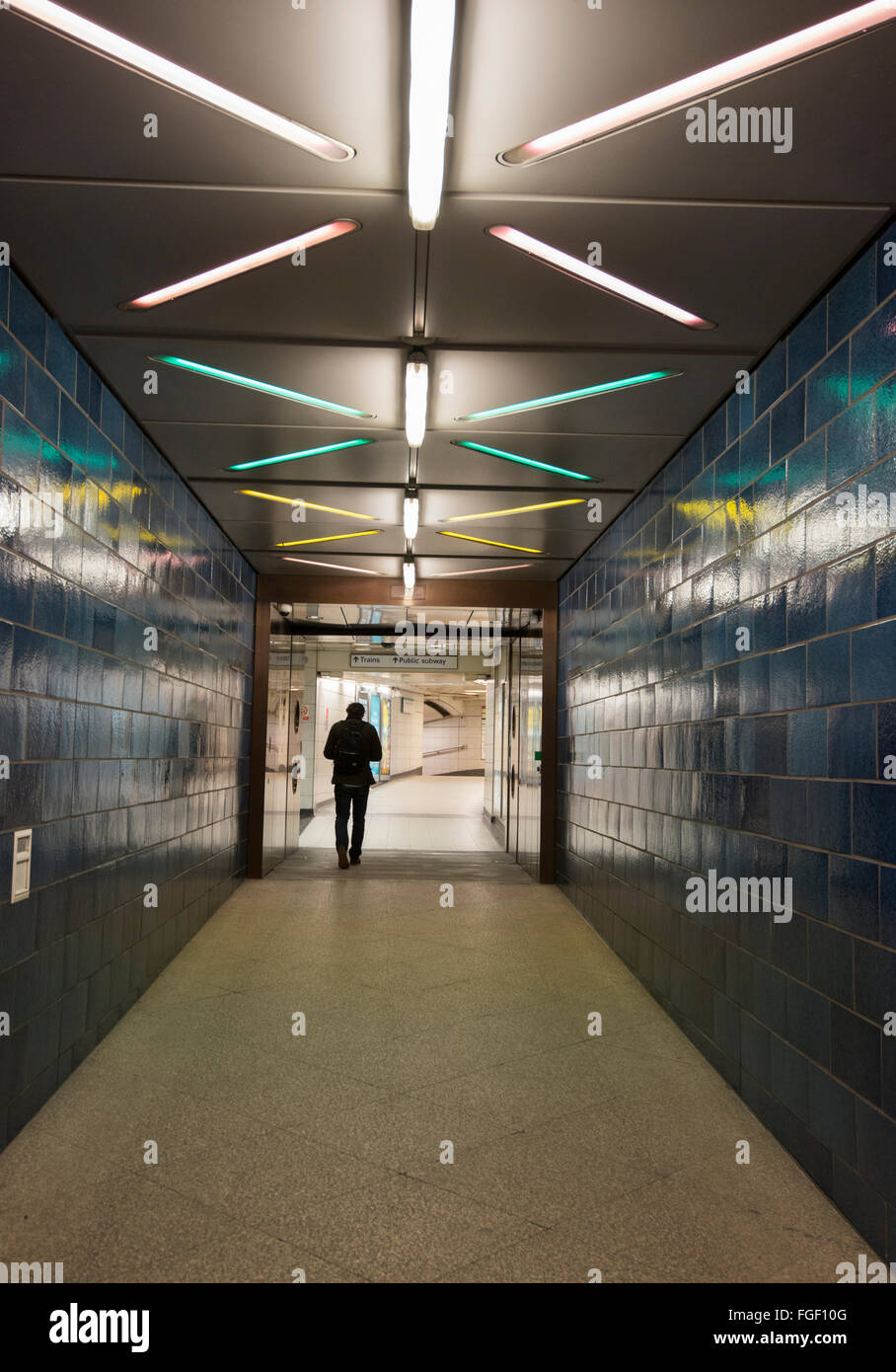 Subway tunnel at No 1 The Poultry in the Financial District London, England UK - Stock Image