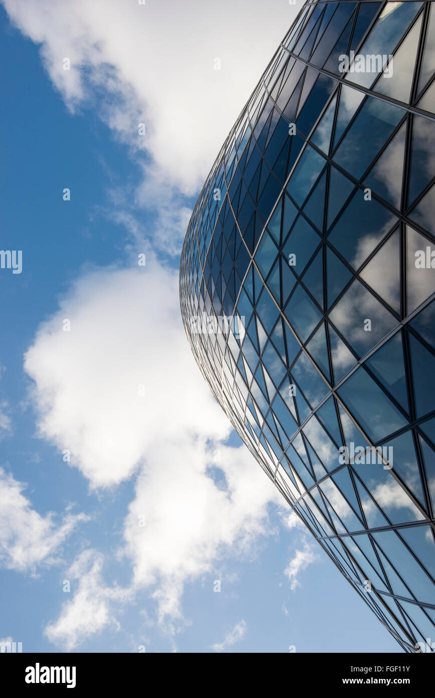 Clouds reflected in the Gherkin, Financial District London England UK - Stock Image