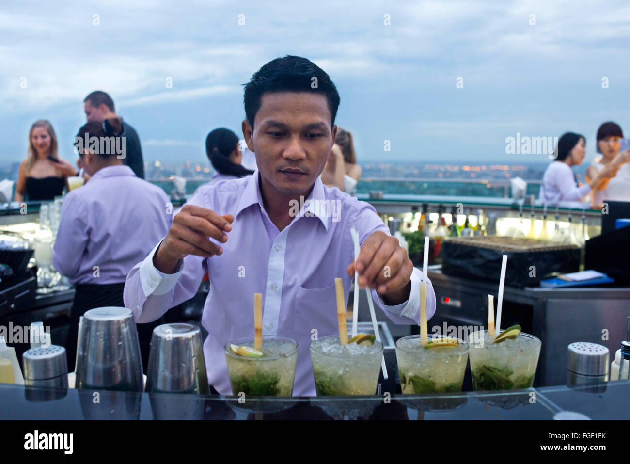 Cocktails at Sirocco rooftop. Thailand. Asia, Bangkok, capital, Centara Grand, Chao Praya River, City, cocktails, Stock Photo