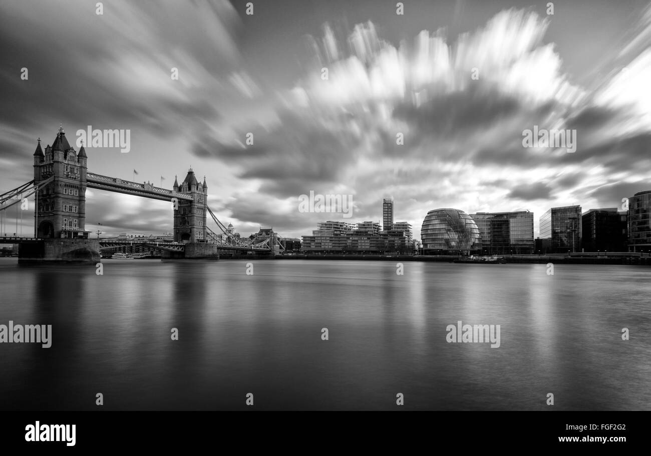 Long exposure at Tower Bridge and the South Bank, London England UK - Stock Image