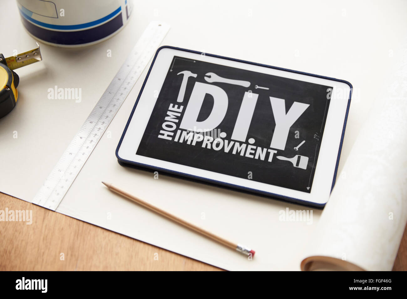 Home Improvement Application On Digital Tablet - Stock Image