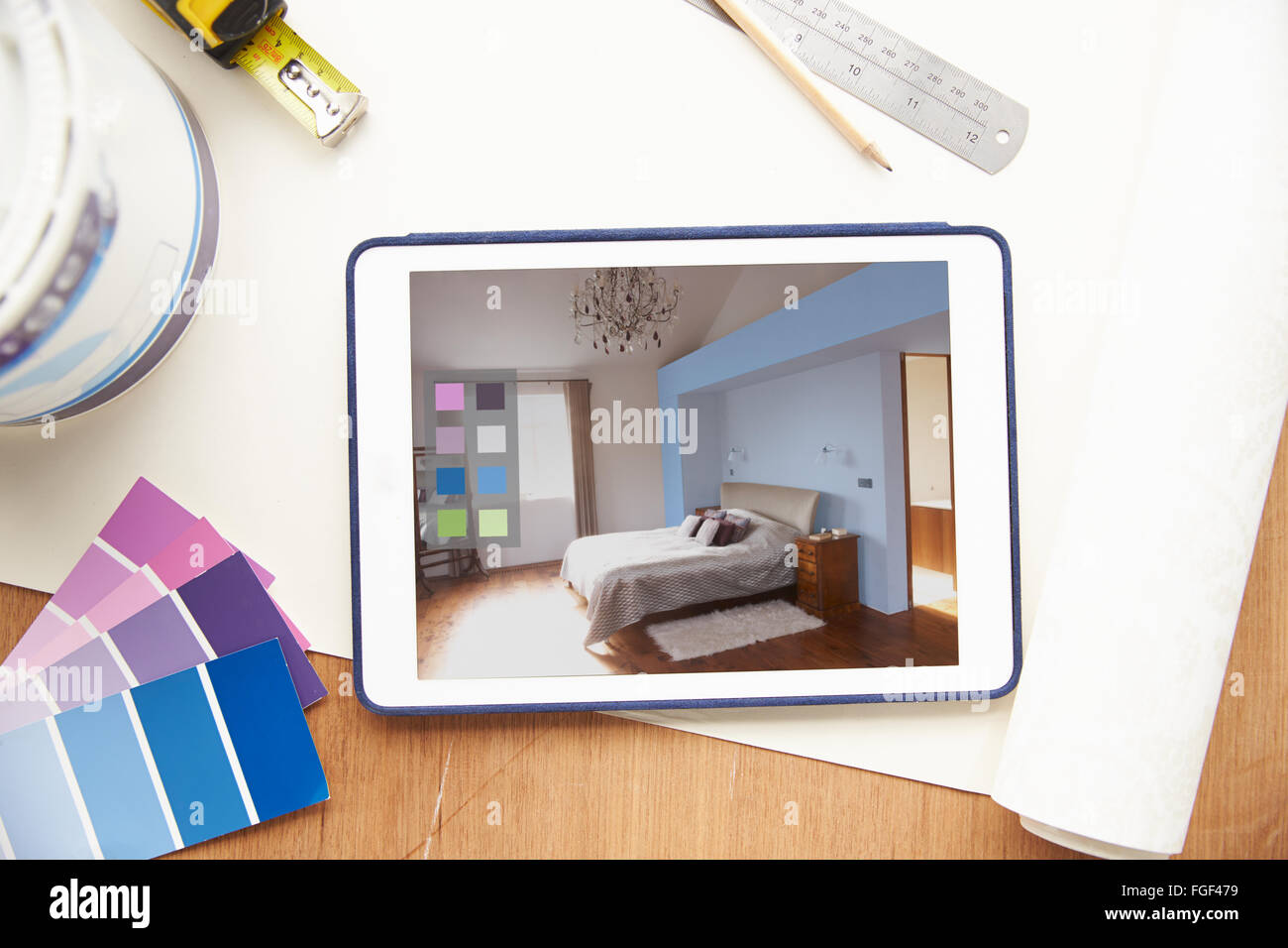 Interior Design Application On Digital Tablet - Stock Image