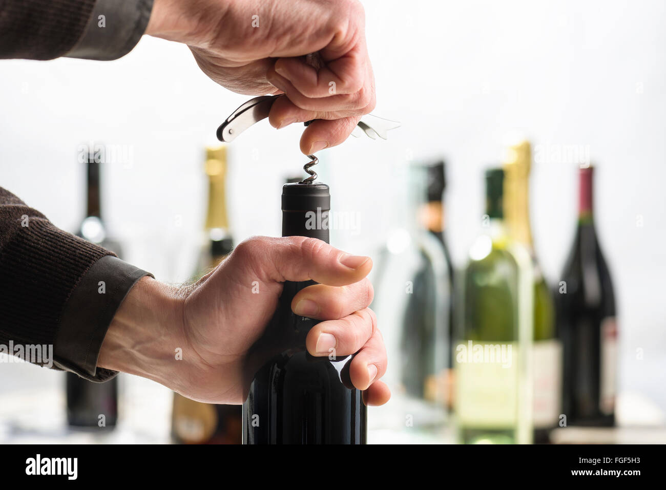 Opening bottle of wine with corkscrew Stock Photo
