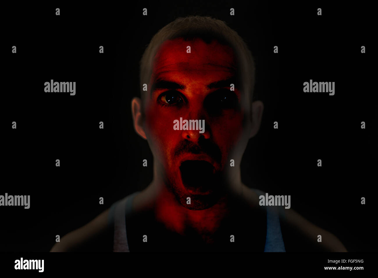 Portrait of a man with an expression of surprise and wonder - Stock Image