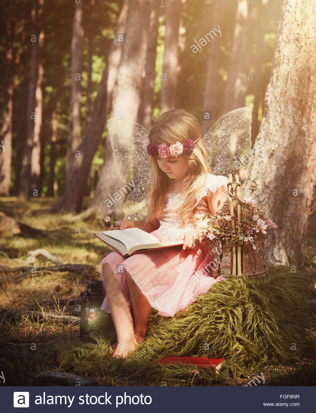A little girl is wearing white sparkle fairy wings outside in the woods reading a fairytale book for magical story - Stock Image