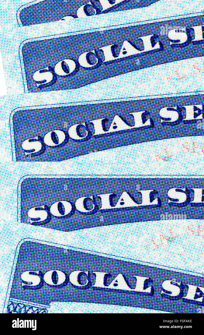 closeup of United States Social Security cards - Stock Image
